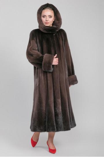 Шуба из меха норки с капюшоном роспуск коричневая (100 - 110 - 125 см)