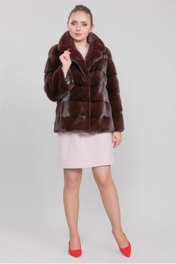 Куртка-пиджак из меха велюровой норки с английским воротом бордо (75 см)