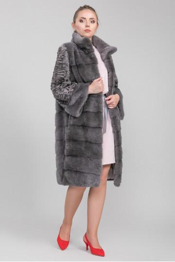 Шуба-пальто из меха цельной норки графит комбинированная с мехом каракульчи воротник стойка (100 см)
