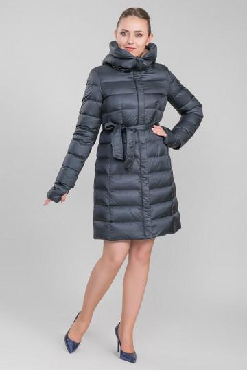 Пуховик - пальто капюшон с мехом енота чёрный Синий (100 см)