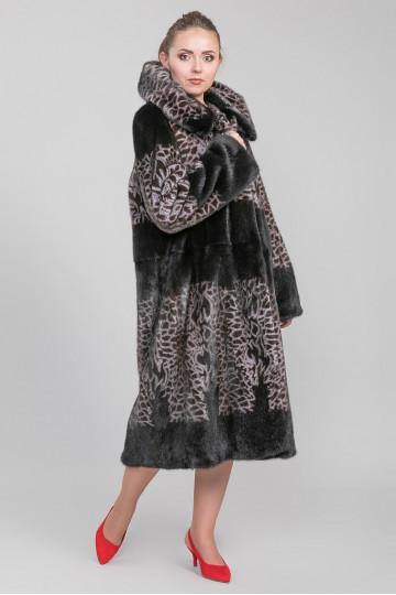Шуба из меха канадской норки цветная комбинированная с капюшоном (115-125 см)