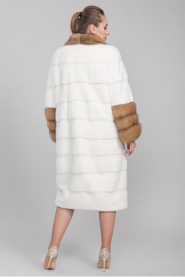Шуба из меха американской аукционной норки белый жемчуг (115 см)