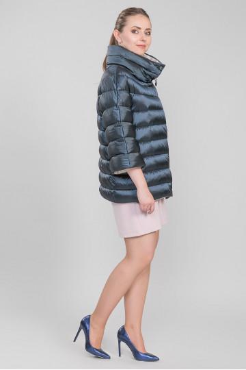 Пуховик - пальто без меха чёрный синий (105-110 см)