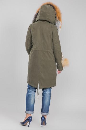 Пуховик - пальто капюшон с мехом енота хаки зелёный (100 -105см)