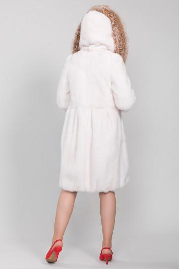 Шуба из белой норки с капюшоном роспуск (100-105 см)