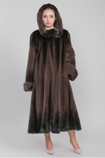 Шуба из меха американской аукционной норки капучино (115-135 см)