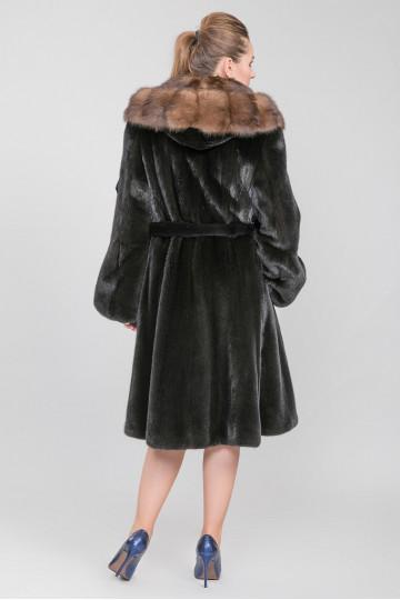 Шуба из меха американской аукционной норки чёрный (115-120 см)