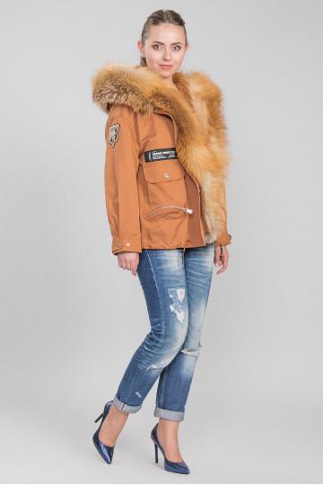 Пуховик - пальто капюшон с мехом енота рыжий (75 см)