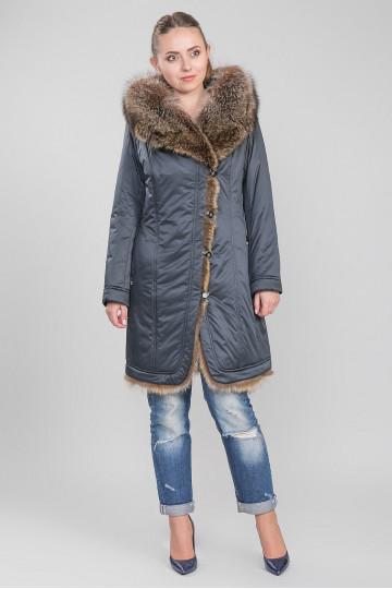 Пуховик - пальто капюшон с мехом енота светло-розовый тёмно-синий (100-105 см)
