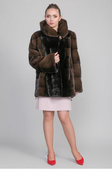 Шуба - куртка из меха цветной велюровой норки с капюшоном (90 см)