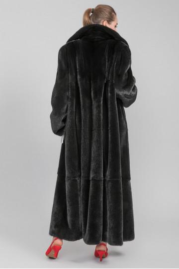 Шуба из меха американской аукционной норки ворот стойка- апаш(135-150 см)