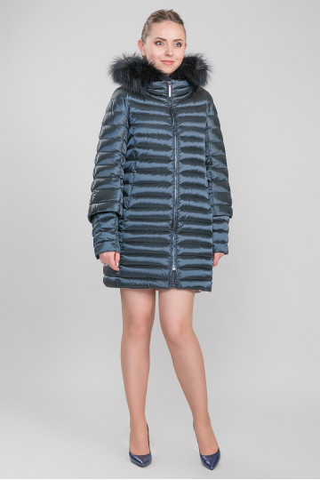 Пуховик - пальто капюшон с мехом енота синий перламутр (90-100 см)