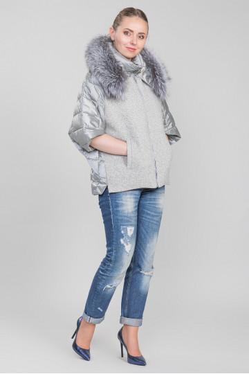 Пуховик - пальто капюшон с мехом енота серый серебро (65см)