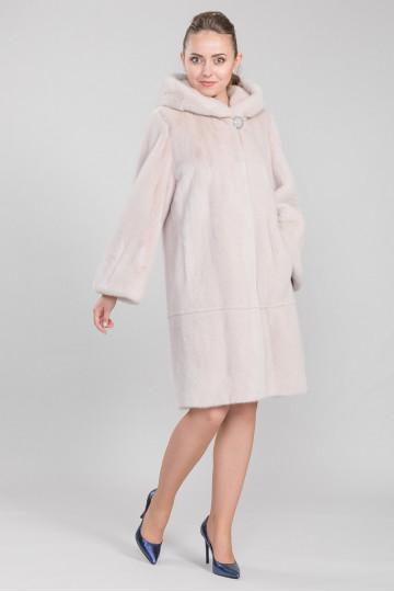 Шуба из меха американской аукционной норки розовый фламинго бежевый (105 см)