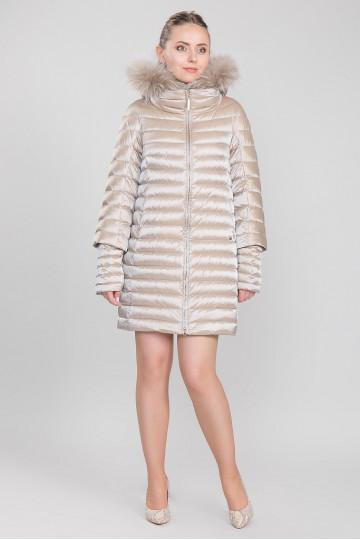 Пуховик - пальто капюшон с мехом енота жемчуг(90-100 см)