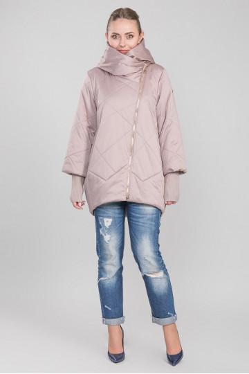 Пуховик - пальто без меха розовый фламинго бежевый (90-95 см)