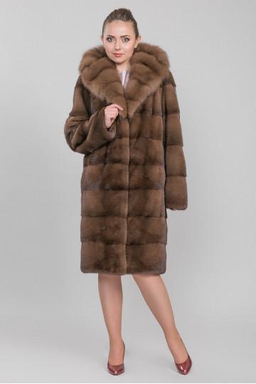 Пальто , меховое из меха велюровой, американской аукционной норки . Цвет соболя. Длина  105 ,110 см.
