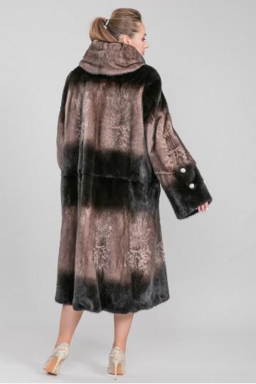 Шуба из меха американской аукционной норки бежевый коричневый (125 см)