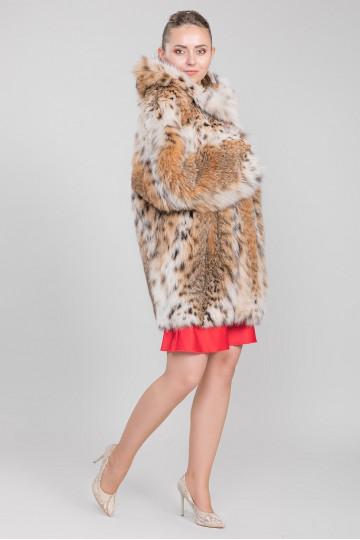 Шуба из меха американской аукционной норки рысь (85-90 см)