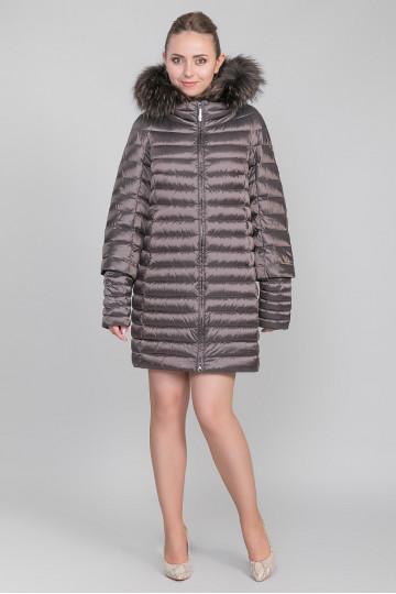 Пуховик - пальто капюшон с мехом енота бронза (90-95 см)