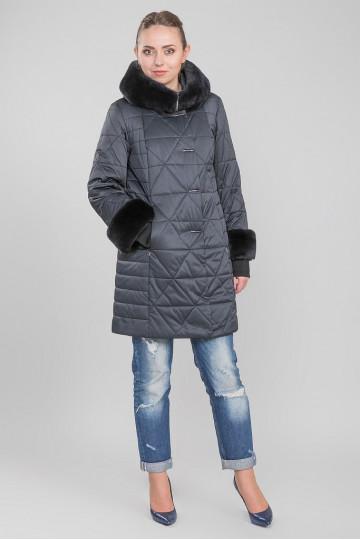 Пуховик - пальто капюшон с мехом енота синий (85 см)