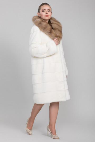 Шуба из меха белой американской аукционной норки (115 см)