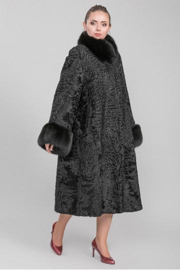 Шуба из меха американской аукционной норки каракульча чёрный жемчуг (125-130 см)