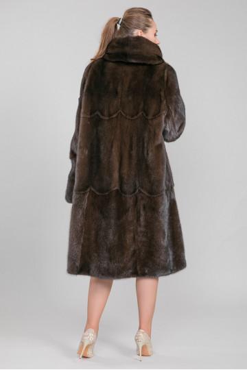 Шуба из меха американской аукционной норки коричневый (115-120 см)