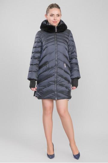 Пуховик - пальто капюшон с мехом енота чёрный Синий (80-85 см)