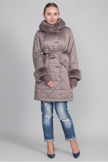 Пуховик - пальто капюшон с мехом бобра, светло-розовый, капучино (85 см)