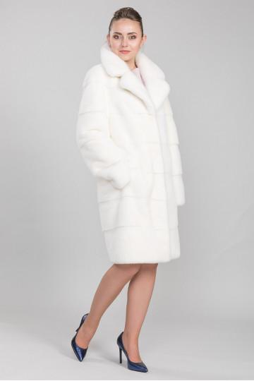 Шуба из меха американской аукционной норки белый жемчуг (100-105 см)