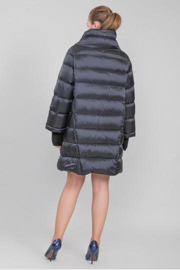 Пуховик - пальто капюшон с мехом енота чёрный Синий (90-95 см)